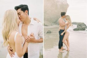 Malibu Engagement Photos on film bathing suit