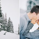 Snow engagement photos on film seattle