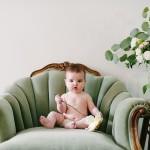 Seattle Studio Baby Portraits 8 months girl flowers