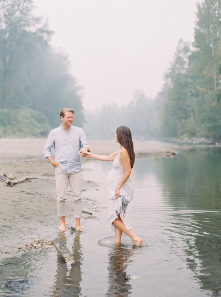 Seattle Film Family Photographer, River Maternity Session