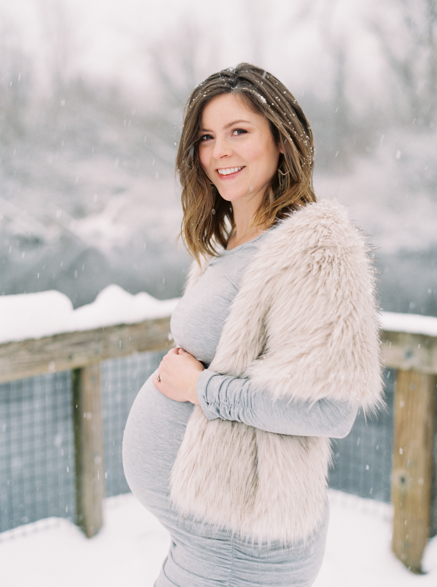 Seattle Maternity Photos in Snow on Film